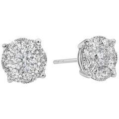 Roman Malakov, 2.24 Carat Total Diamond Cluster Stud Earrings