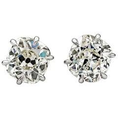 Roman Malakov 2.31 Carat Old Mine Cut Diamond Stud Earrings