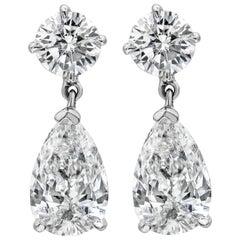 Roman Malakov 2.31 Carat Pear Shape Diamond Dangle Drop Earrings