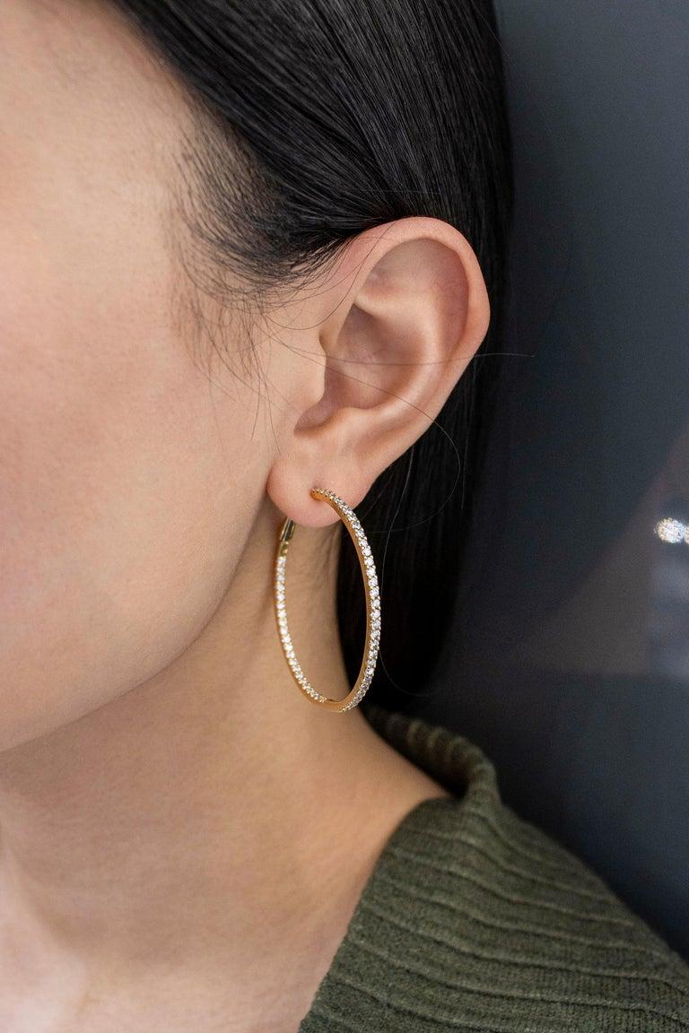 Round Cut Roman Malakov 2.48 Carat Round Diamond Hoop Earrings in Yellow Gold For Sale