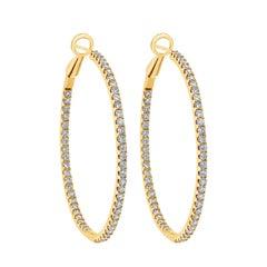 Roman Malakov 2.48 Carat Round Diamond Hoop Earrings in Yellow Gold