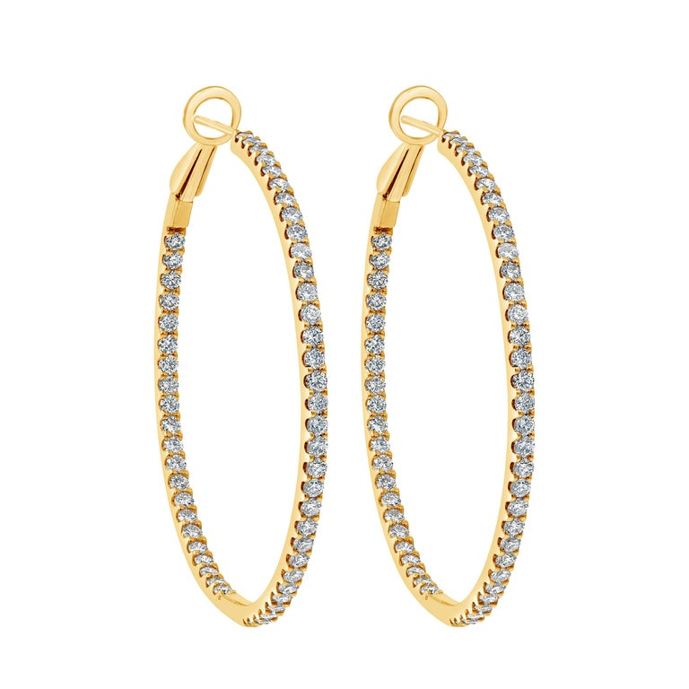 Roman Malakov 2.48 Carat Round Diamond Hoop Earrings in Yellow Gold For Sale