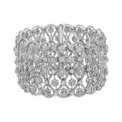 Roman Malakov 28.17 Carat Cluster Diamond Wide Fashion Bracelet