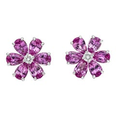Roman Malakov 2.94 Carat Pink Sapphire and Diamond Flower Earrings