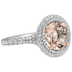 Roman Malakov 3.01 Carat Round Morganite and Diamond Halo Engagement Ring