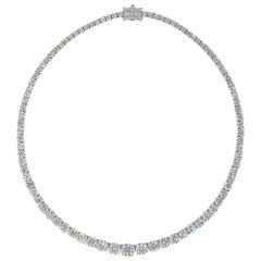 Roman Malakov 30.68 Carat Round Diamond Riviere Tennis Necklace