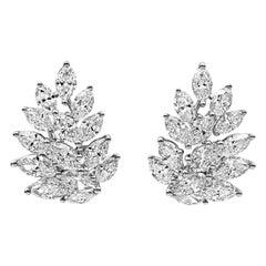 Roman Malakov 3.07 Carat Marquise Cut Diamond Cluster Stud Earrings