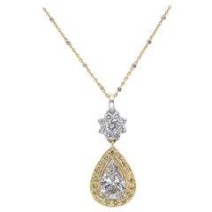 Roman Malakov 3.12 Carat Pear Shape Diamond Halo Drop Pendant Necklace