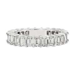Roman Malakov 3.20 Carat Emerald Cut Diamond Eternity Wedding Band