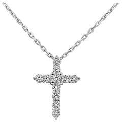 Roman Malakov 3.39 Carat Round Diamond Religious Cross Pendant Necklace