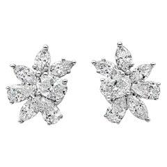 Roman Malakov 3.47 Carat Brilliant Diamond Cluster Stud Earrings