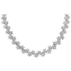 Roman Malakov 36.07 Carat Round Diamond Flower Necklace