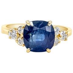 Roman Malakov 3.75 Carat Blue Sapphire and Diamond Engagement Ring