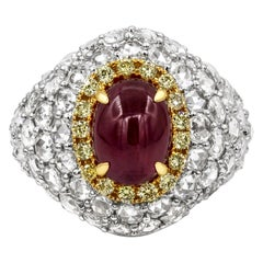 Roman Malakov 3.76 Carat Cabochon Ruby and Diamond Cocktail Ring