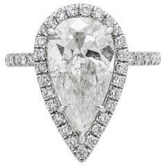 Roman Malakov 4.03 Carat Pear Shape Diamond Halo Engagement Ring