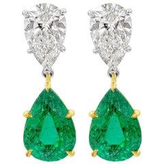 Roman Malakov 4.18 Carat Emerald and Diamond Dangle Drop Earrings