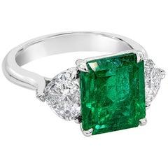 Roman Malakov 4.46 Carat Colombian Emerald and Diamond Engagement Ring