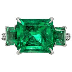 4.82 Carat Colombian Green Emerald and Diamond Three-Stone Ring