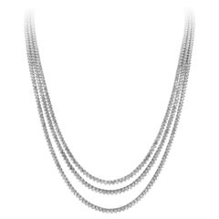 Roman Malakov, 54.16 Carat Three-Row Long Tennis Necklace in 18k White Gold