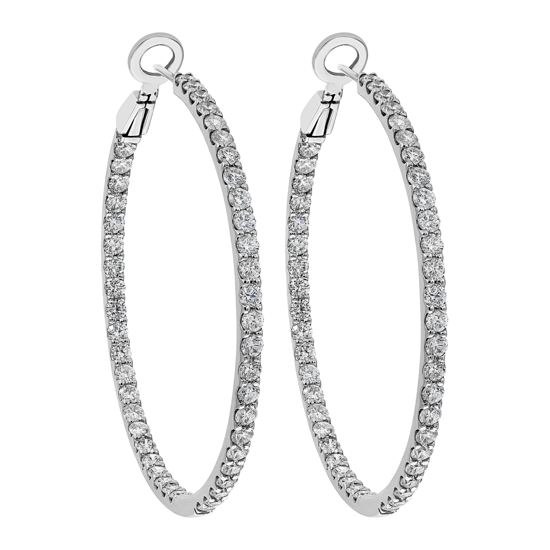Roman Malakov 5.42 Carat Round Diamond Hoop Earrings
