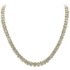 Roman Malakov 54.75 Carat Yellow and White Oval Diamond Tennis Necklace