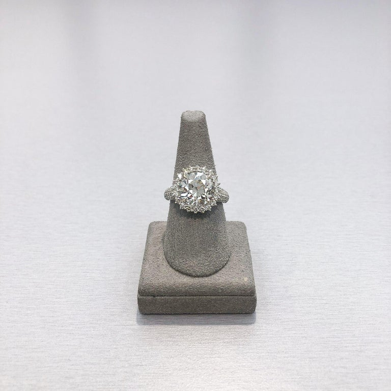 Roman Malakov 5.56 Carat Old European Cut Diamond Halo Engagement Ring For Sale 1
