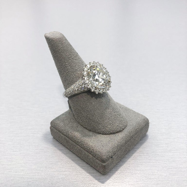 Roman Malakov 5.56 Carat Old European Cut Diamond Halo Engagement Ring For Sale 2