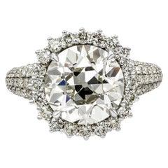 Roman Malakov 5.56 Carat Old European Cut Diamond Halo Engagement Ring
