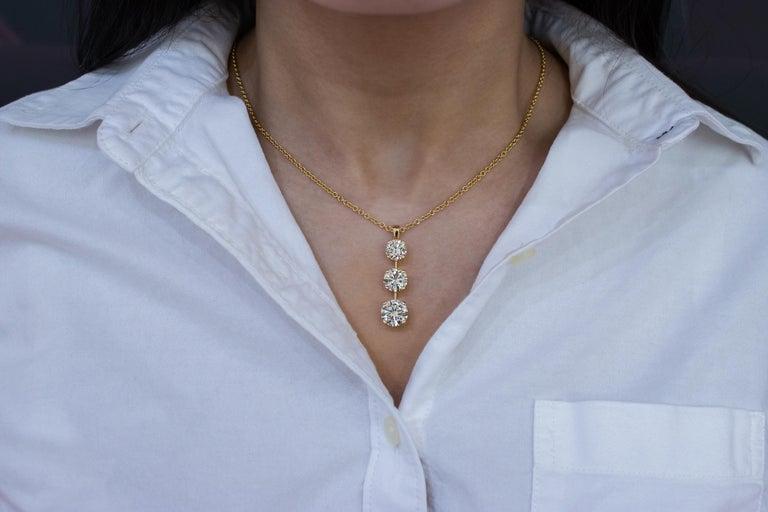 Contemporary Roman Malakov 7.05 Carat Diamond Three-Stone Journey Pendant Necklace For Sale