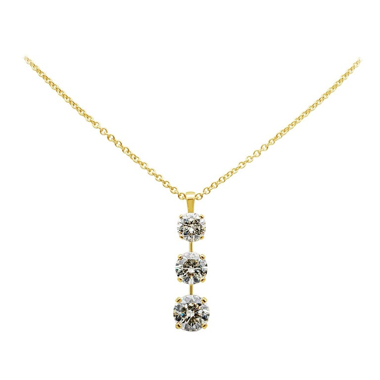 Roman Malakov 7.05 Carat Diamond Three-Stone Journey Pendant Necklace For Sale