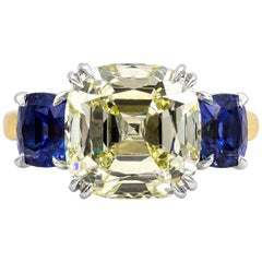 Roman Malakov 7.20 Carat Cushion Cut Diamond and Sapphire Three-Stone Ring