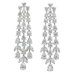 Roman Malakov 7.36 Carat Brilliant Diamond Waterfall Drop Earrings