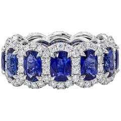Roman Malakov 7.63 Carat Blue Sapphire and Diamond Halo Eternity Ring