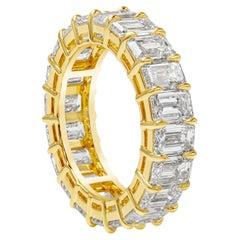 Roman Malakov, 8.03 Carat Emerald Cut Diamond Eternity Wedding Band