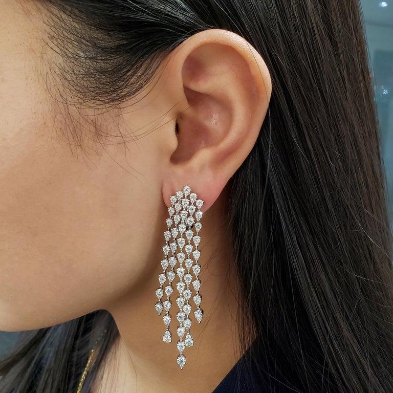 Contemporary Roman Malakov, 9.35 Carat Pear Shaped Diamond Five-Row Waterfall Drop Earrings For Sale