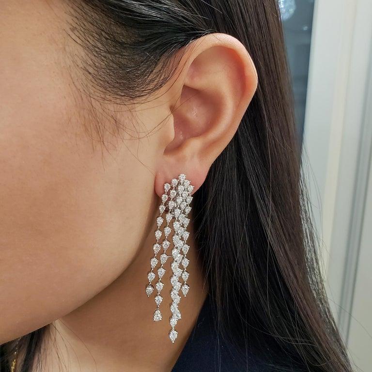 Pear Cut Roman Malakov, 9.35 Carat Pear Shaped Diamond Five-Row Waterfall Drop Earrings For Sale