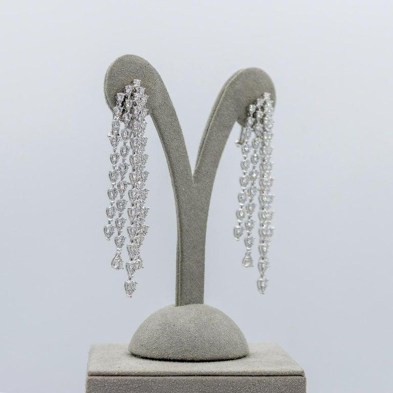 Women's Roman Malakov, 9.35 Carat Pear Shaped Diamond Five-Row Waterfall Drop Earrings For Sale