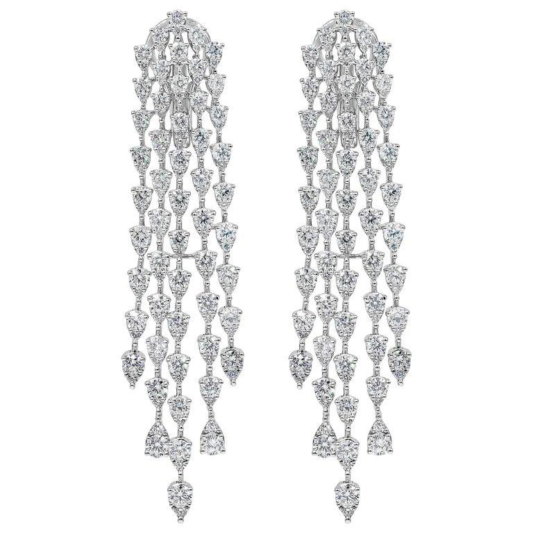 Roman Malakov, 9.35 Carat Pear Shaped Diamond Five-Row Waterfall Drop Earrings For Sale