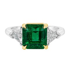 Roman Malakov, AGL Certified Emerald and Diamond Three-Stone Engagement Ring