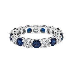 Roman Malakov Alternating Blue Sapphire and Diamond Wedding Band