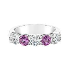 Roman Malakov Alternating Pink Sapphire and Diamond Five-Stone Wedding Band
