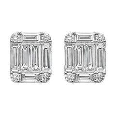Roman Malakov, Baguette and Round Diamond Cluster Stud Earrings