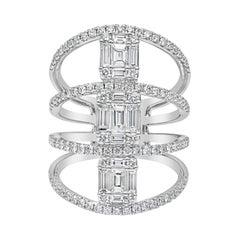 Roman Malakov Baguette and Round Diamond Multi-Row Fashion Ring