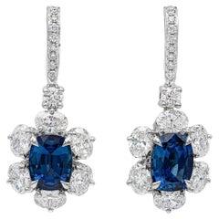 Roman Malakov, Blue Sapphire and Diamond Flower Dangle Earrings