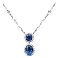 Roman Malakov Blue Sapphire and Diamond Halo Drop Pendant Necklace