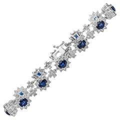 Roman Malakov, Blue Sapphire and Diamond Halo Flower Bracelet