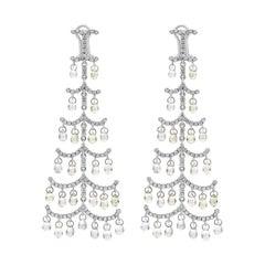 Roman Malakov Briolette Sapphire and Diamond Chandelier Earrings