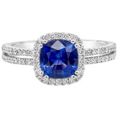 Roman Malakov Cushion Cut Blue Sapphire and Diamond Halo Engagement Ring