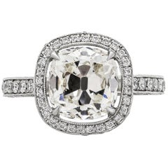 Roman Malakov EGL USA Cetified Cushion Diamond Halo Engagement Ring