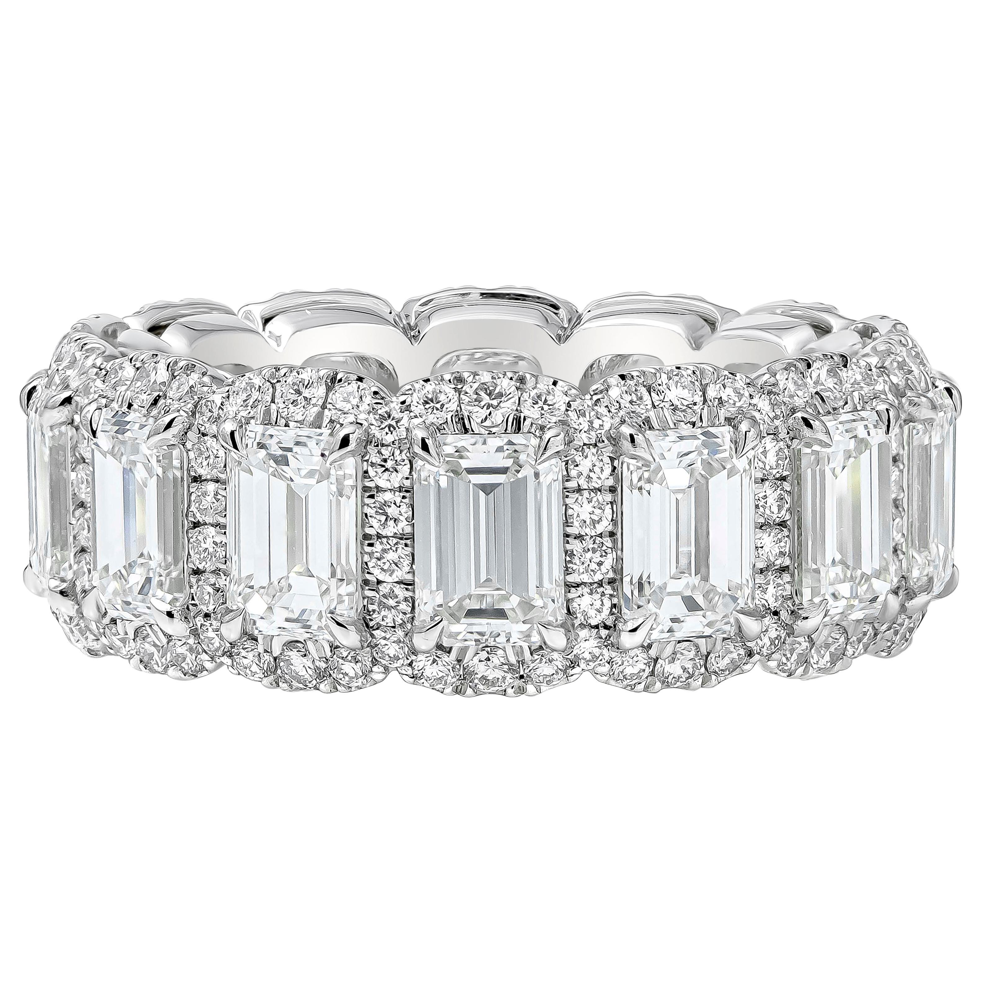 Roman Malakov Emerald Cut Diamond Halo Eternity Wedding Band